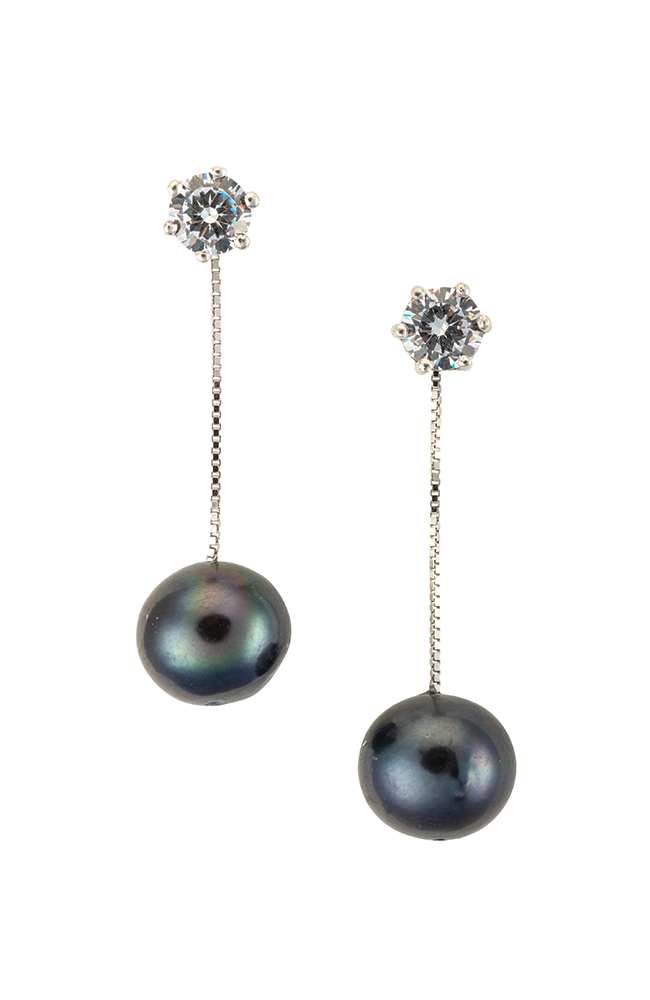 Hanging drop pearl earrings with CZ studs