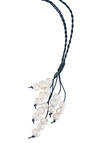 Braided leather and pearl necklace
