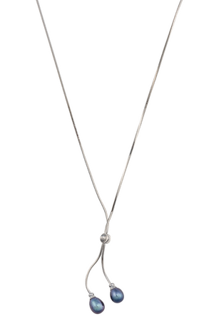 Double pearl simple lariat