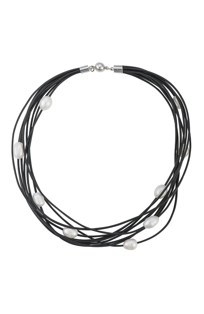 Leather and large pearl multi-strand necklace