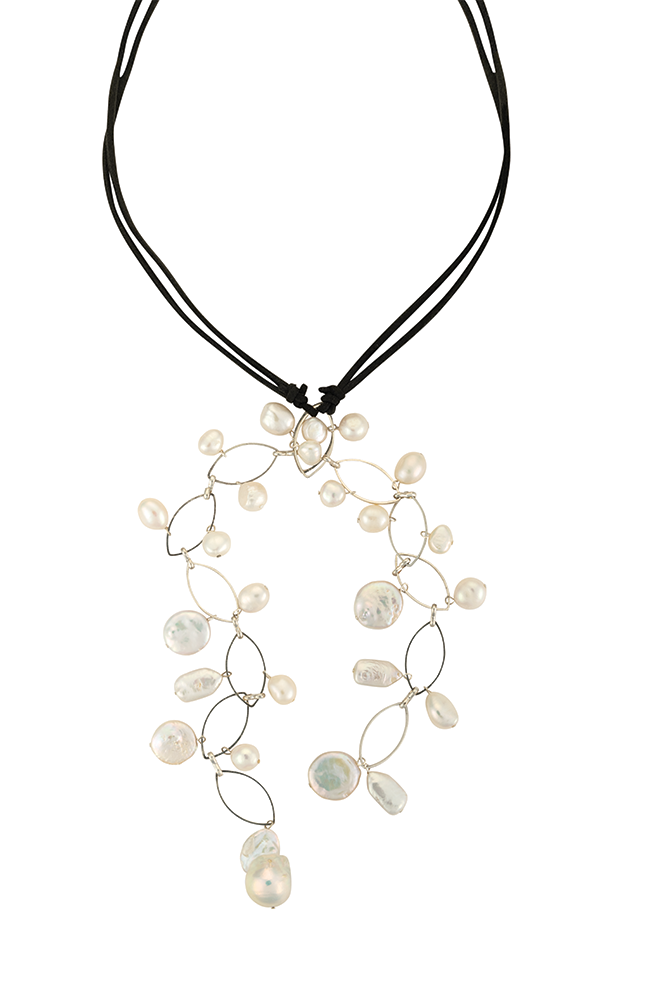 Long suede and coin pearl necklace