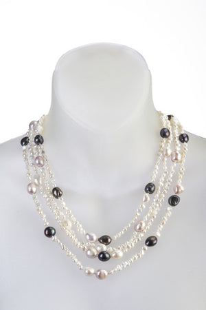 Four-strand white pearl necklace with black accents