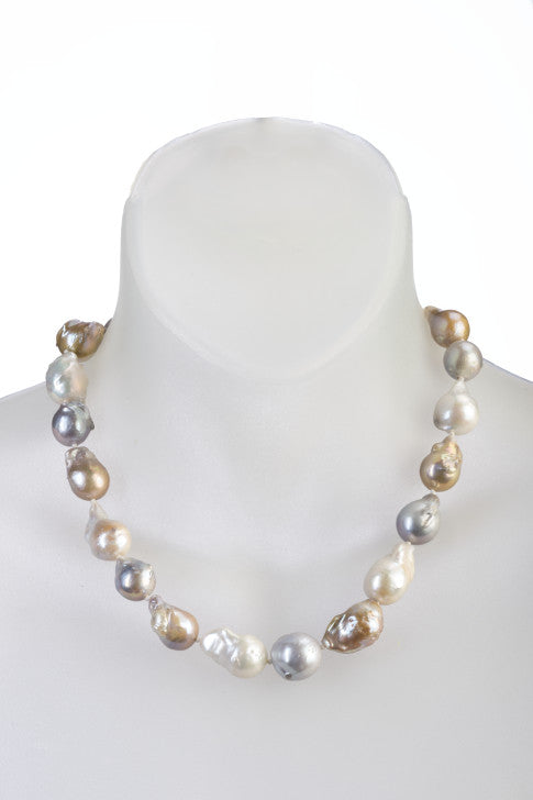 Single Strand Baroque Pearl Necklace with White Gray and Gold