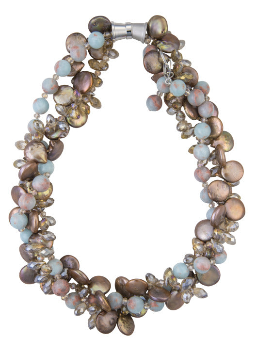 Blue jasper and bronze coin pearl necklace