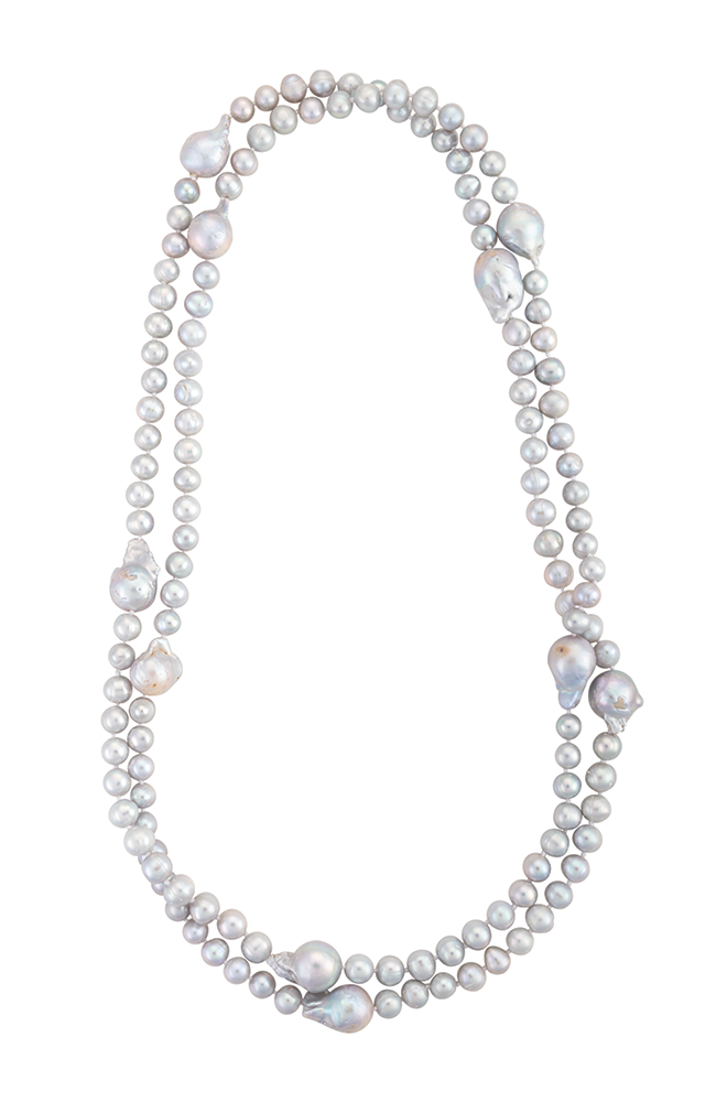 Long biwa pearl necklace