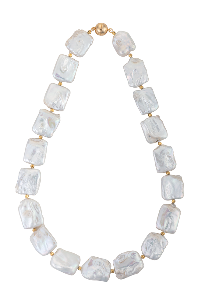 Square freshwater pearl necklace with gold beads