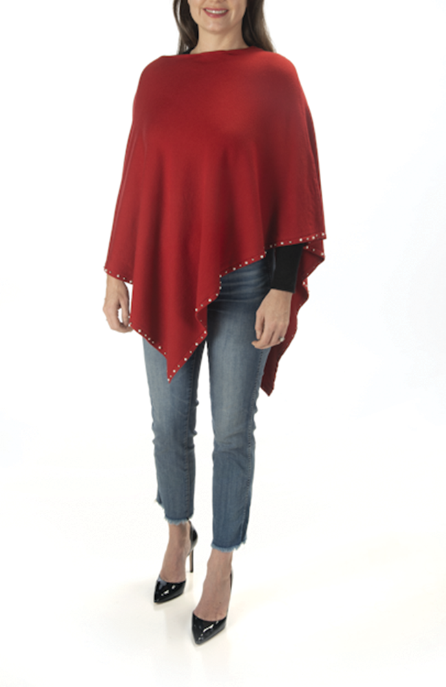 Ultra-soft red pearl-trimmed poncho