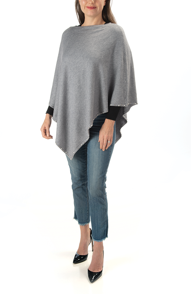 Ultra-soft gray pearl-trimmed poncho