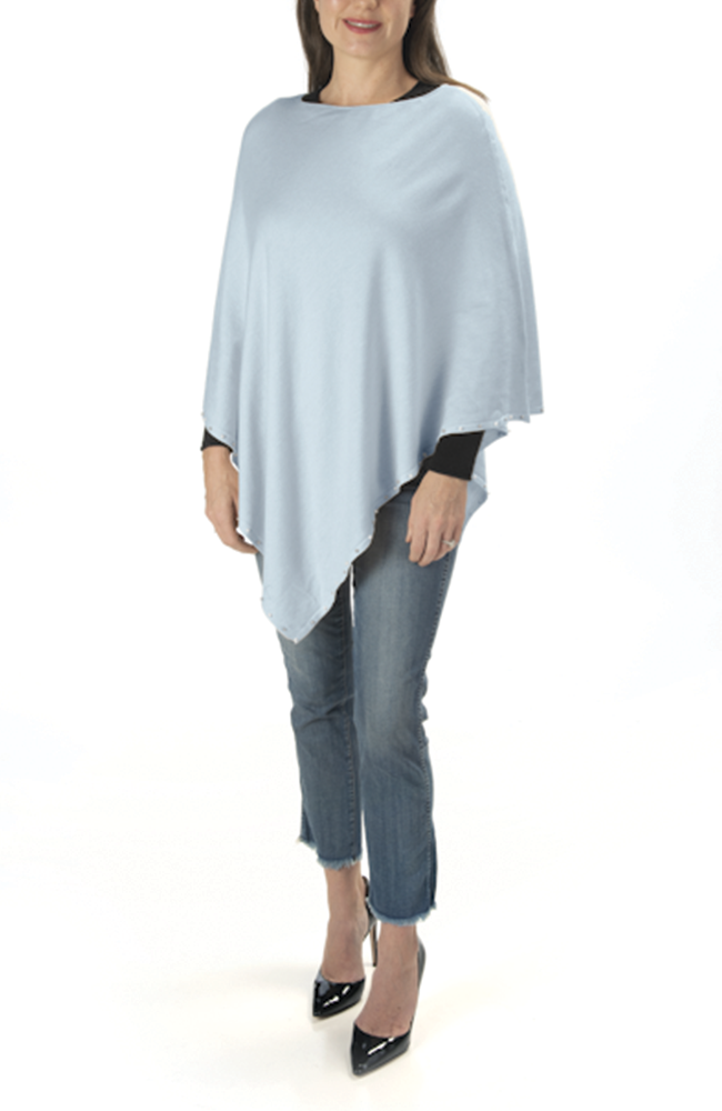 Ultra soft silver blue pearl-trimmed poncho