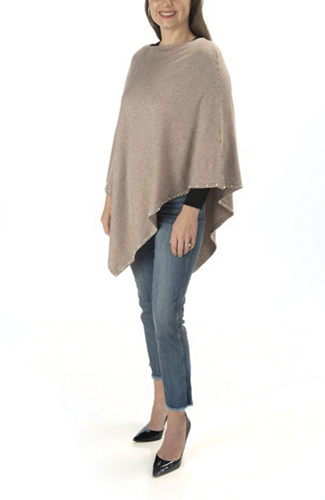 Ultra-soft taupe pearl-trimmed poncho