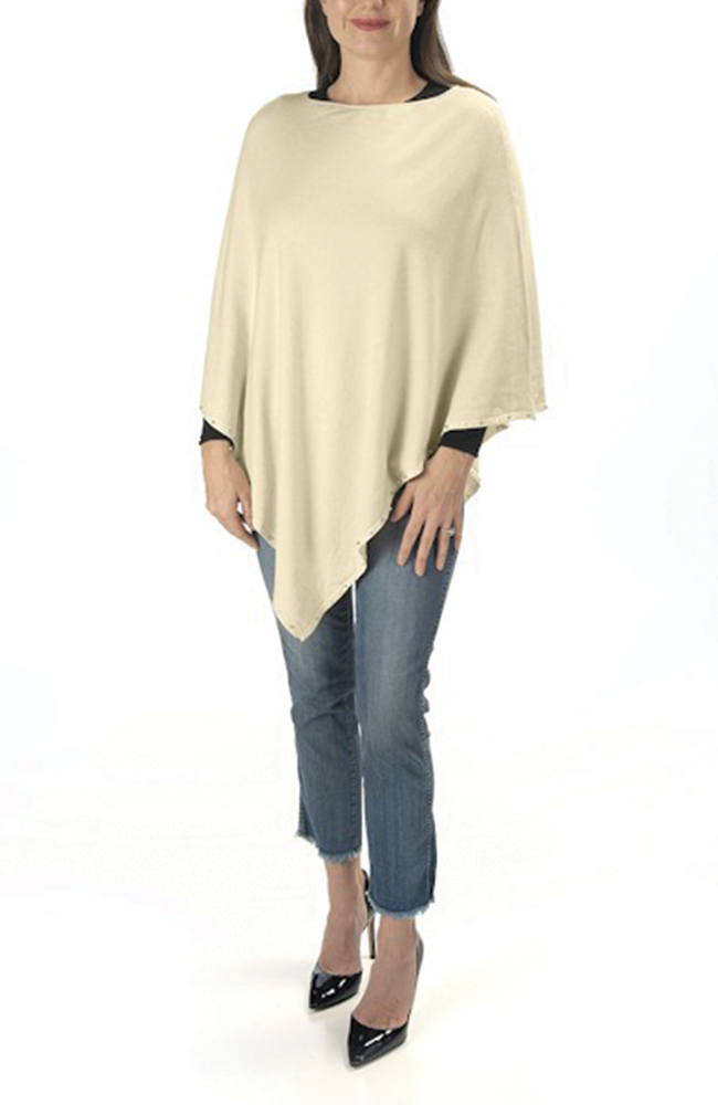 Ultra-soft winter white pearl-trimmed poncho