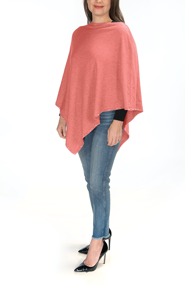 Ultra soft coral pearl-trimmed poncho