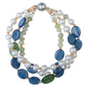 Three-strand lapis, hairstone, and pearl bracelet