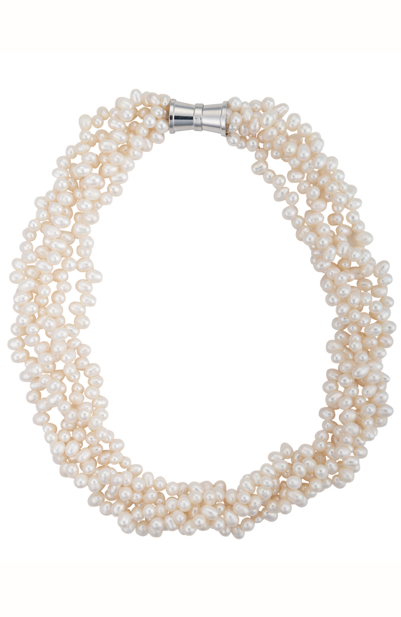 An image of a five-strand white cultured keshi pearl necklace with a magnetic clasp