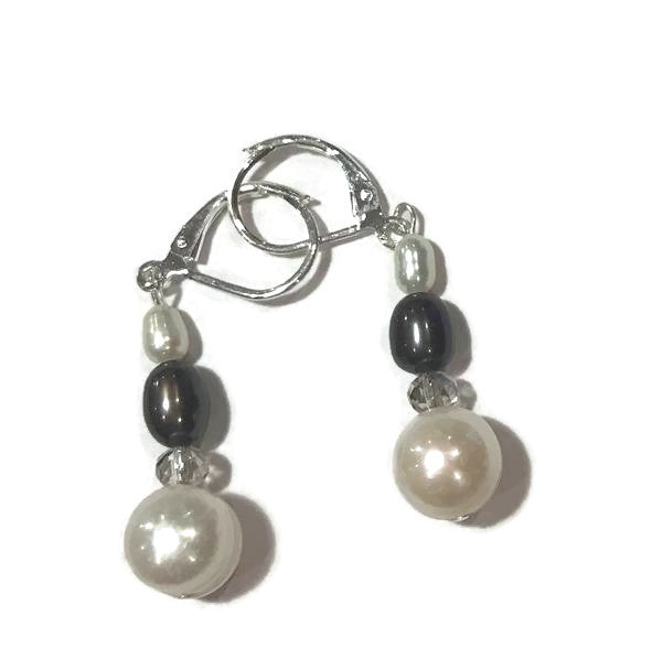 White and Gray Hanging Pearl Earrings