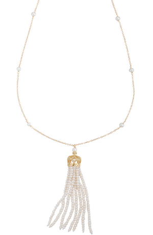 An image of a long gold and white freshwater cultured pearl tassel necklace