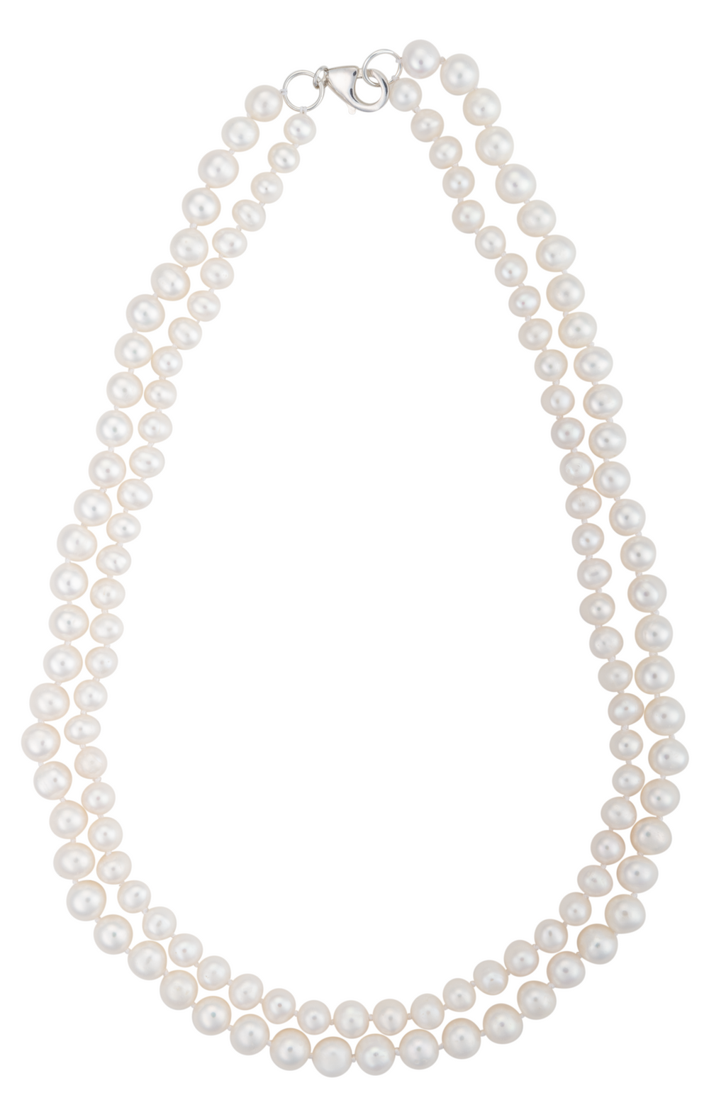 An image of a graduated double-strand white freshwater cultured pearl necklace