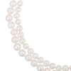 A close-up of a graduated double-strand white freshwater cultured pearl necklace