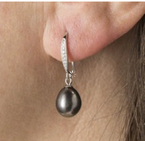 Swarovski and teardrop pearl earrings
