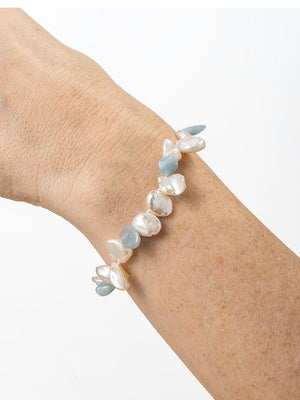 Aquamarine and keshi pearl bracelet