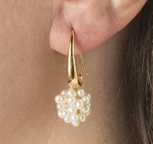 Snowball cluster pearl earrings