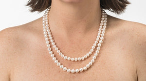 Graduated double strand pearl necklace