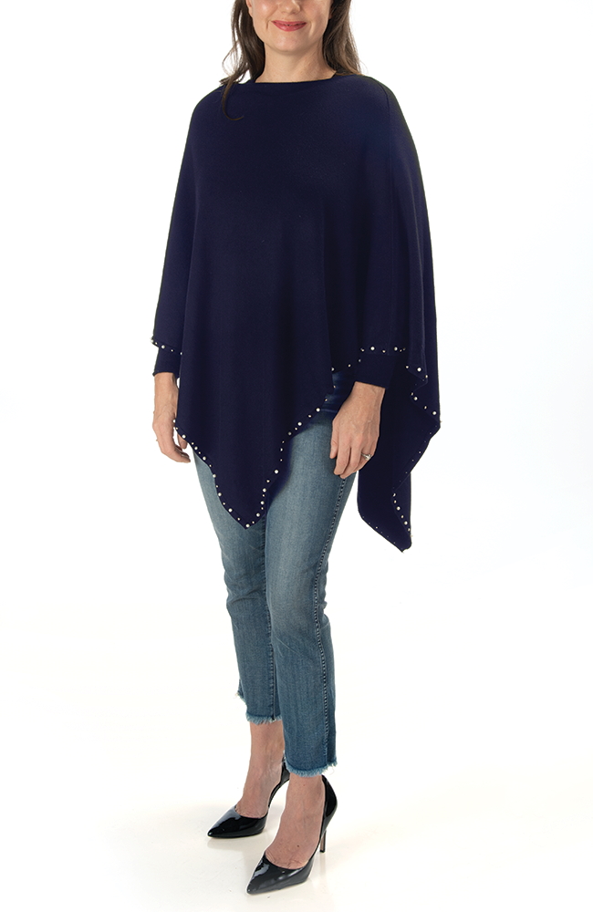Ultra-soft navy pearl-trimmed poncho