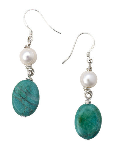 White pearl and turquoise earrings