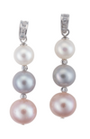 An image of pink, gray, and white three pearl earrings, with crystal accents.