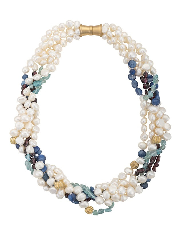 5 Strand Freshwater Pearls, Garnet, Tourmaline, Epetite, Kyanite Necklace