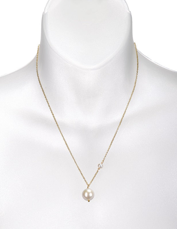 Freshwater Edison Pearl and Small Freshwater Pearl on Gold Chain
