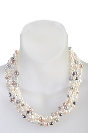 An image of a white freshwater cultured pearl five-strand necklace with white, gray, and pink pearls on a white mannequin