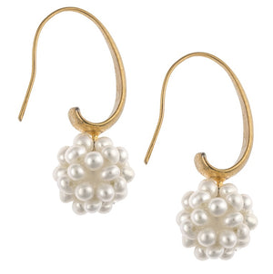 An image of white snowball cluster pearl earrings on 14k gold plating