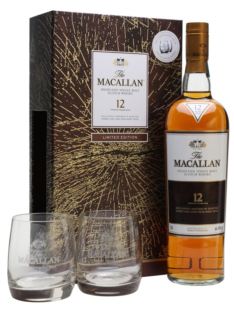 Macallan 12yo Sherry Oak Limited Edition glass gift pack 70cl 40%  Whisky