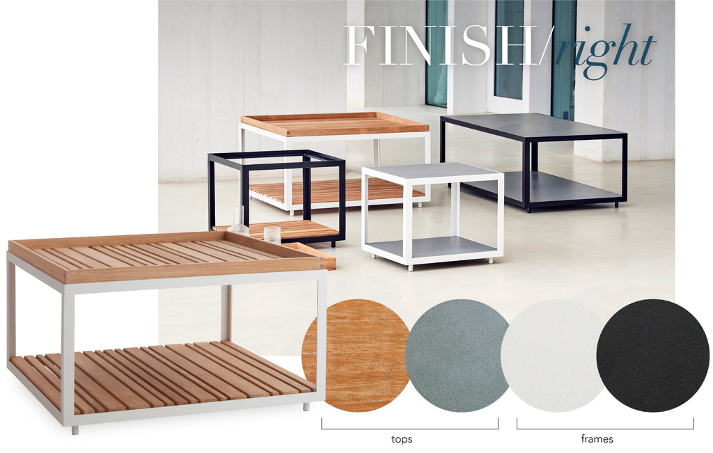Juniper House | Cane-Line Level Coffee Tables | Contract Commercial Furniture Ceramic Teak
