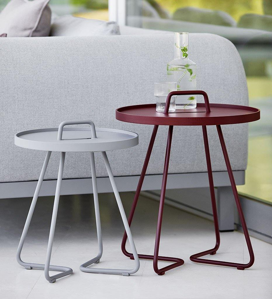 lifestyle, On The Move Outdoor Bordeaux Red Aluminum Side Table Small 5065