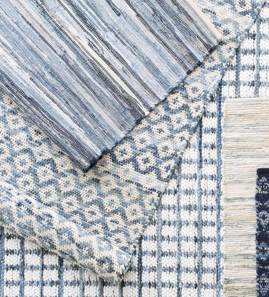 lifestyle, Dash and Albert Denim Rag Squares Woven Cotton Rug