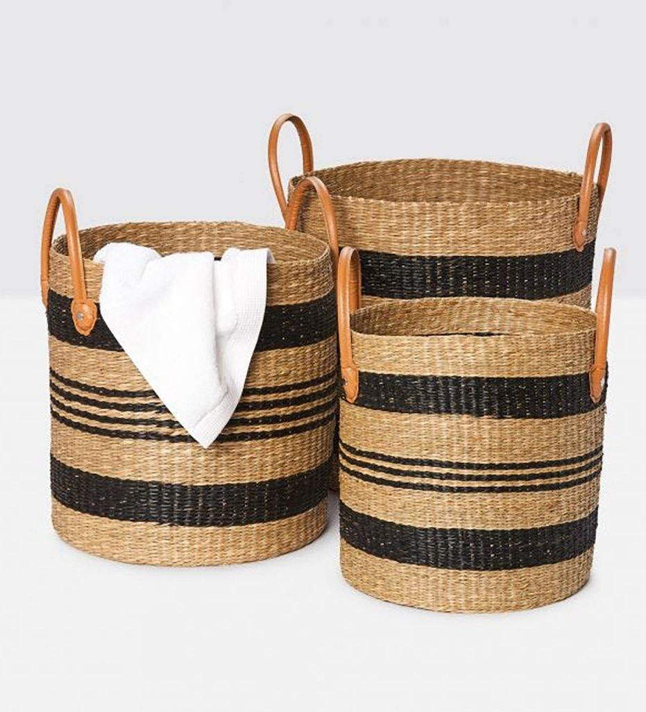 Pigeon and Poodle Hudson Tall Striped Basket