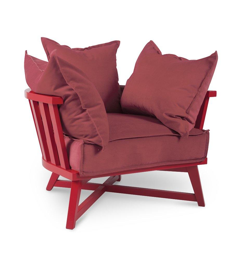 Junipe rHouse-Almeco-Cage Lounge Chair-Beech-Red