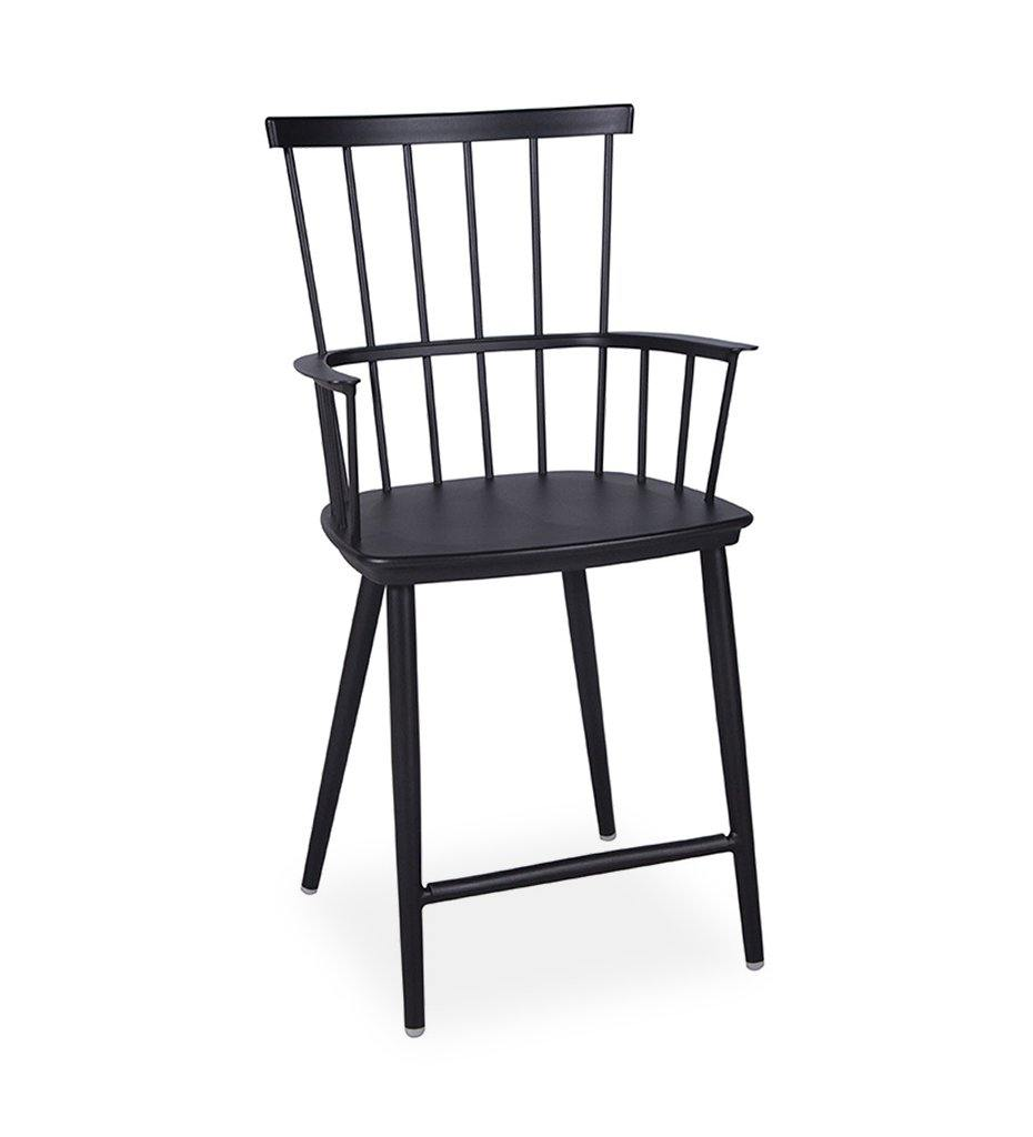 Almeco Ranger Indoor Outdoor Aluminum Modern Windsor Counter Stool Black
