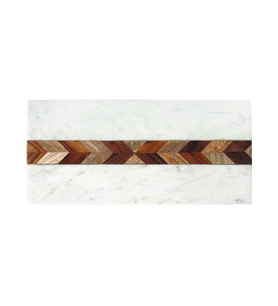 Be Home White Marble and Wood Mosaic Rectangular Board