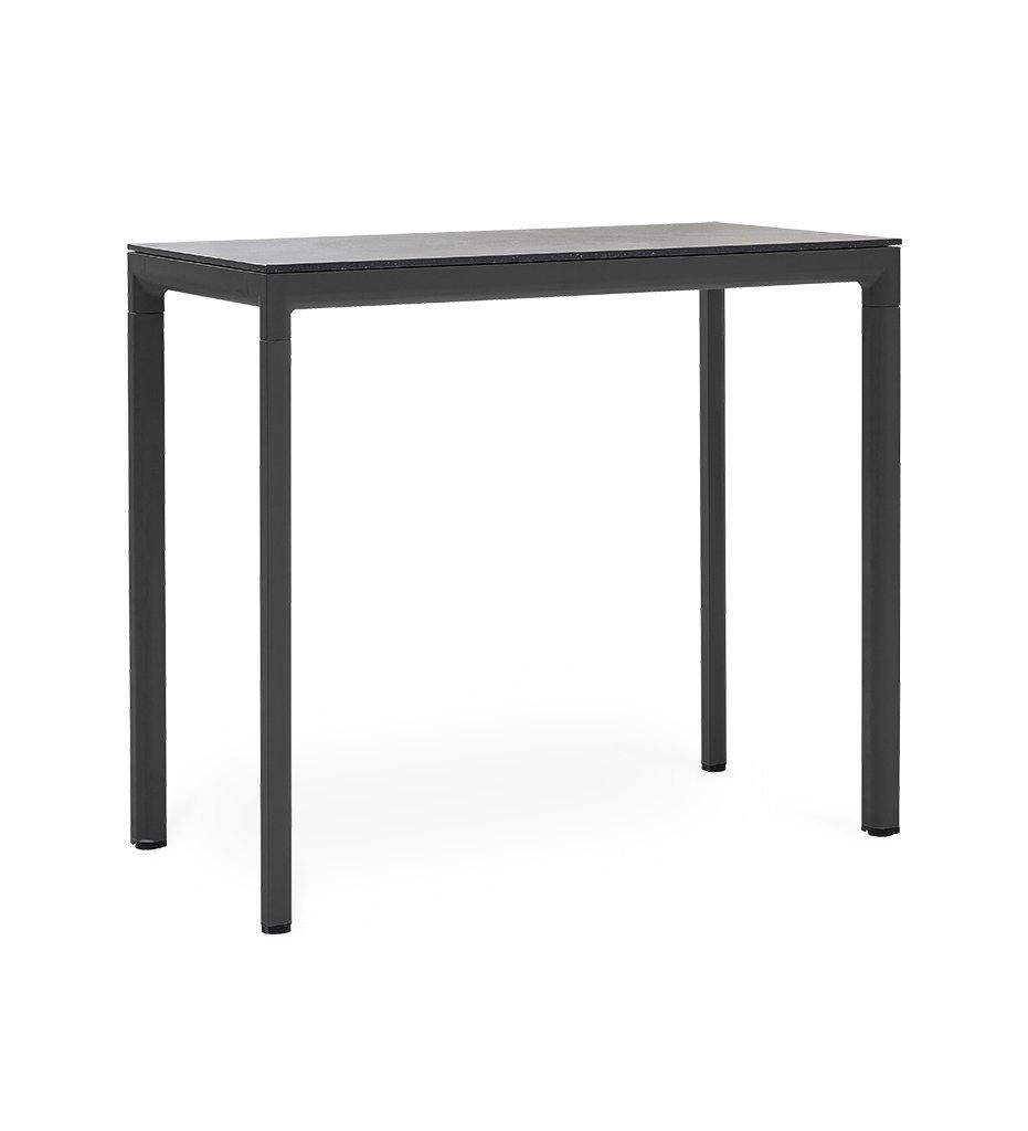 Cane-line Drop Outdoor Bar Table with Lava Grey Aluminum Base and Black Fossil Ceramic Top 50402AI P087COB