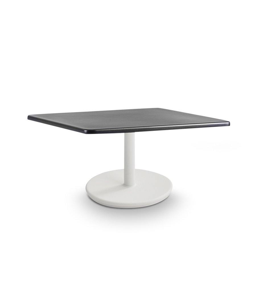 Cane-line Go Small Coffee Table with White Base and Lava Grey Top 5043AL P046AL