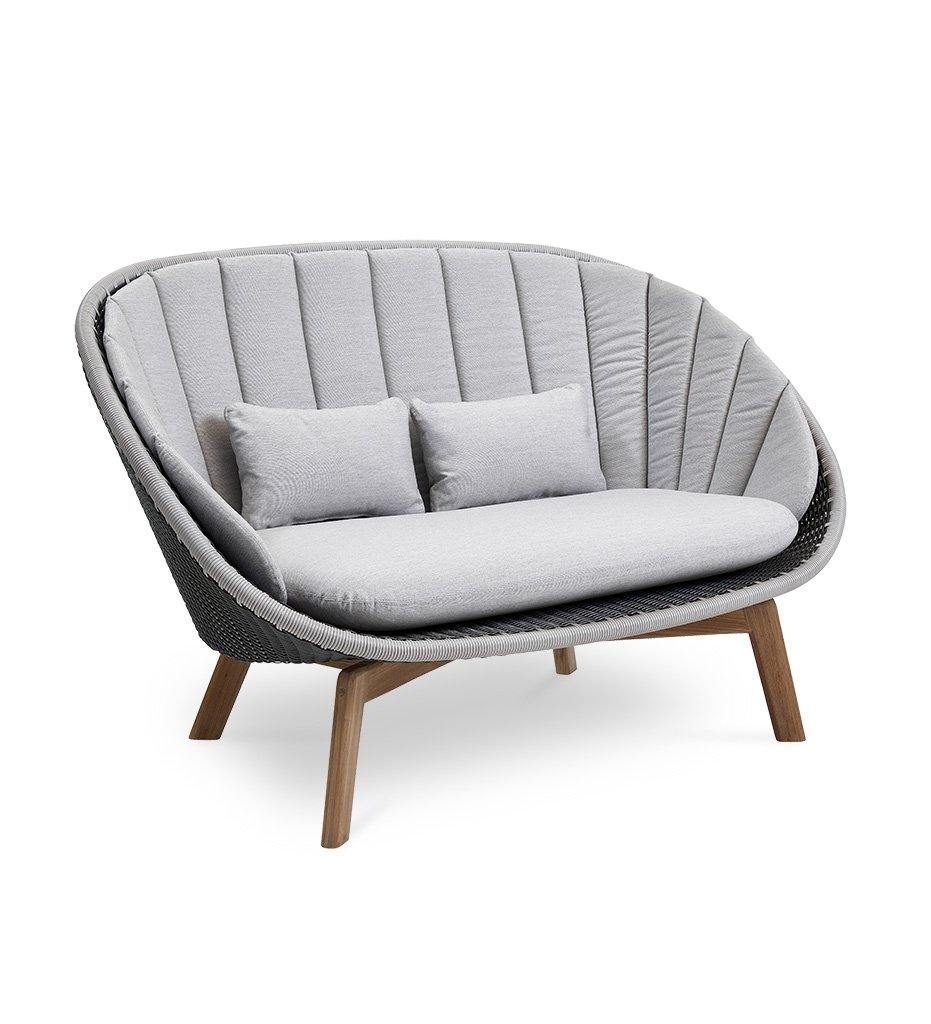 Cane-line Peacock 2 Seater Grey/Light Grey All Weather Weave Outdoor Sofa with Teak Legs 5558GIT with Light Grey Cushions YSN96
