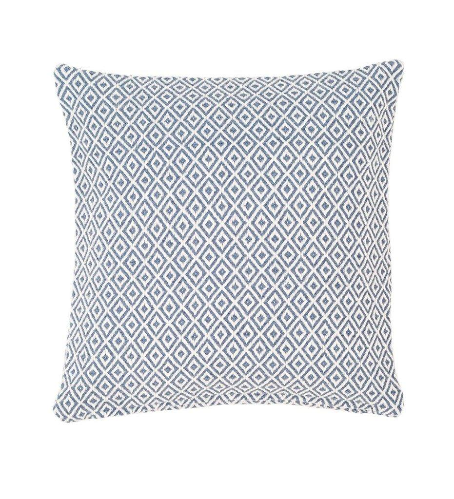 Annie Selke Pine Cone Hill Crystal Denim White Indoor Outdoor Decorative Pillow
