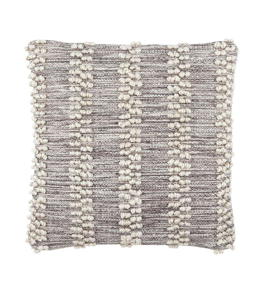 Annie Selke Hobnail Stripe Grey Indoor/Outdoor Decorative Pillow