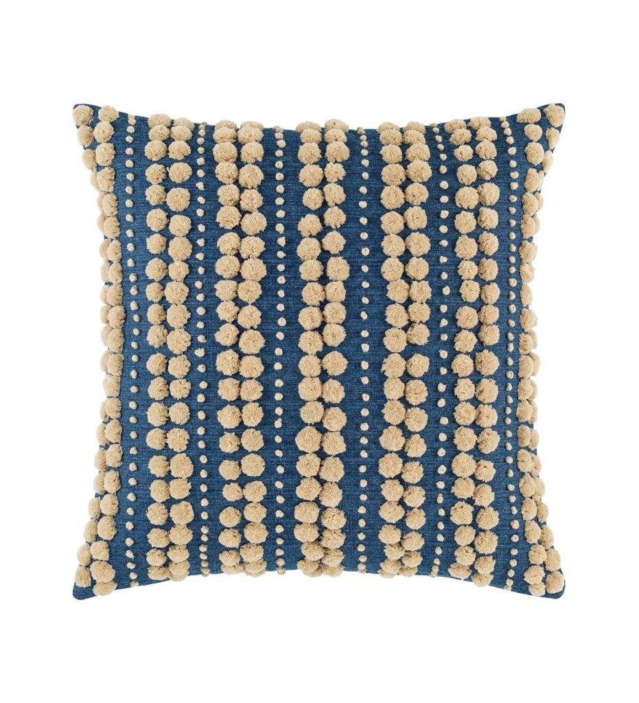 Annie Selke Pine Cone Hill Omni Embroidered Denim Natural Indoor Outdoor Decorative Pillow