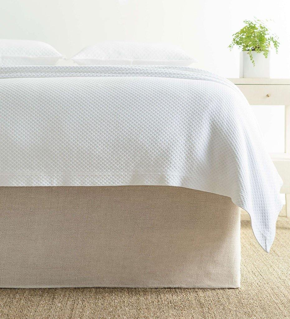 Annie Selke Stone-Washed Linen Natural Tailored Paneled Bed Skirt