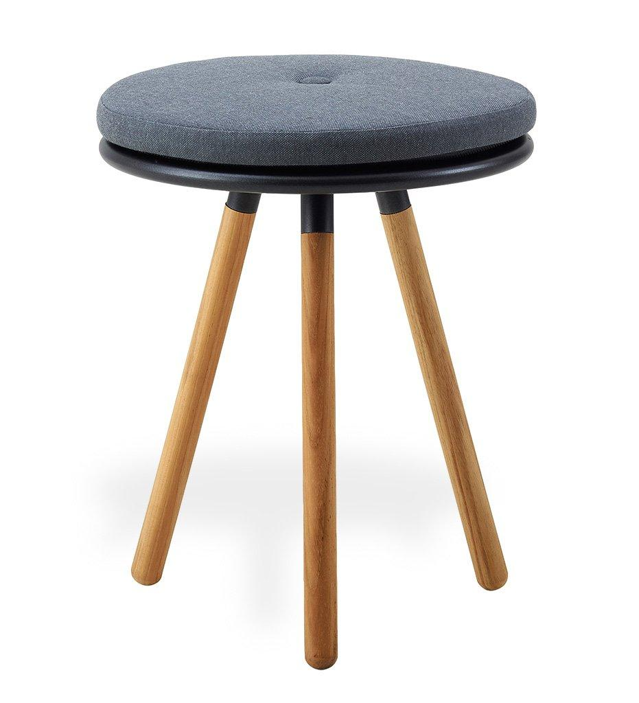 Cane-line Area Teak and Lava Grey Aluminum Table Stool with Grey Cushion 11009TAL Y95