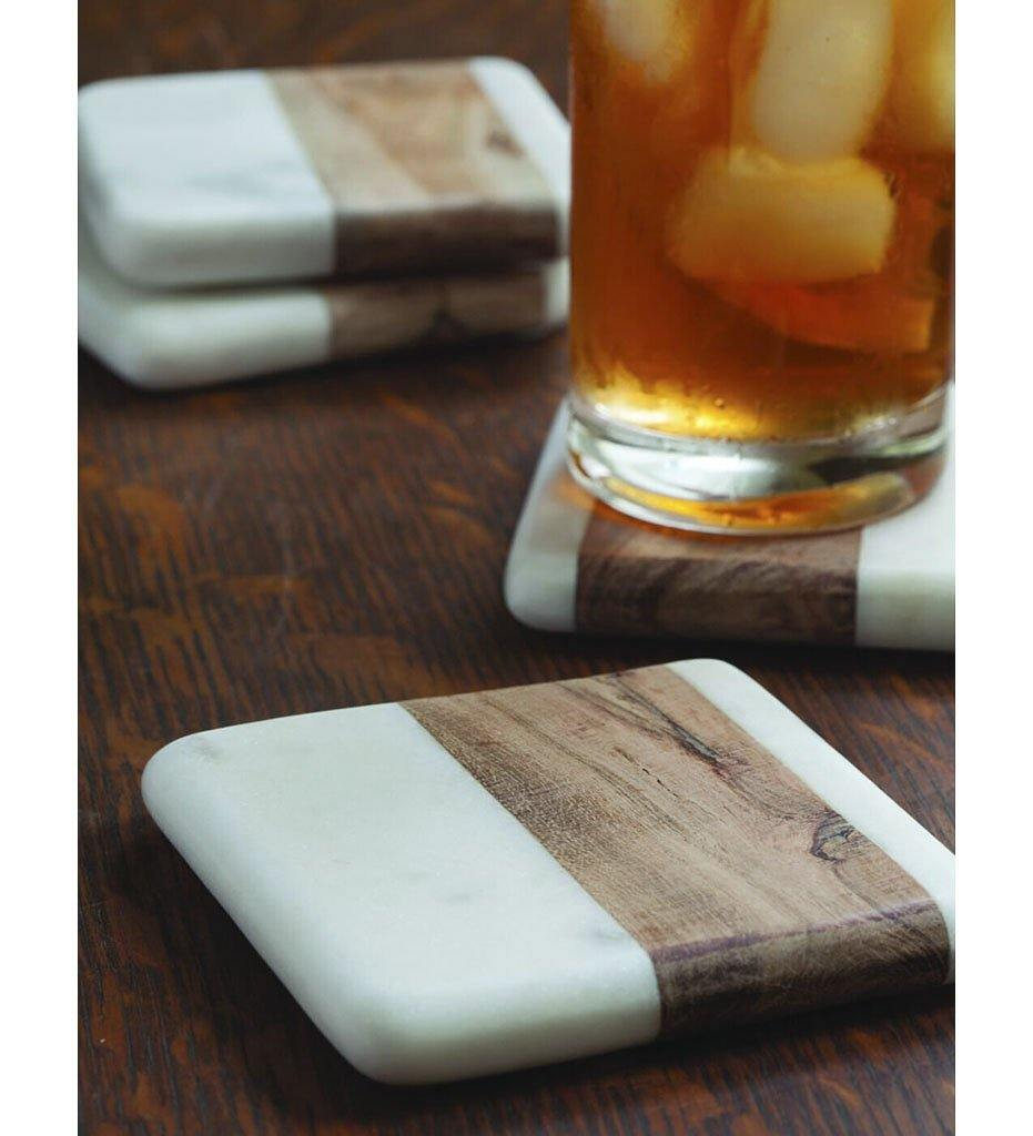 Be Home White Marble & Wood Square Coasters, Set of 4